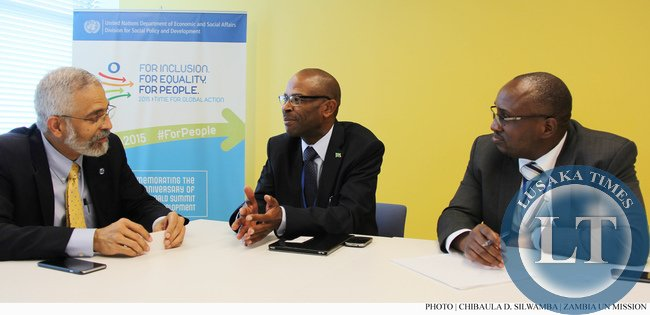 Finance Deputy Minister Christopher Mvunga (centre) during a bilateral meeting with Assistant Secretary-General for Economic Development in the UN Department of Economic and Social Affairs (DESA) Lenni Montiel on 10 July 2015. On the right is Ministry of Finance Director of National Planning Chola Chabala. PHOTO | CHIBAULA D. SILWAMBA | ZAMBIA UN MISSION