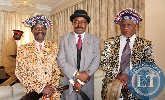 Chief Mumena  With Senior Chief Ishiindi right and Chief Ishima  Sankeni V1 at Statehouse after Meeting with the President Lungu .pictures by Eddie Mwanaleza/Statehouse.