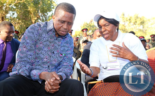 President Lungu talks to Chieftainess Mukamambo Nkomesha in misolo village