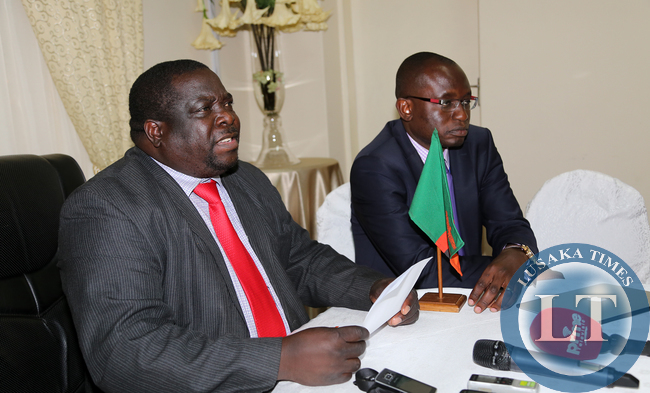 Chishimba Kambwili with Amos Chanda at Statehouse