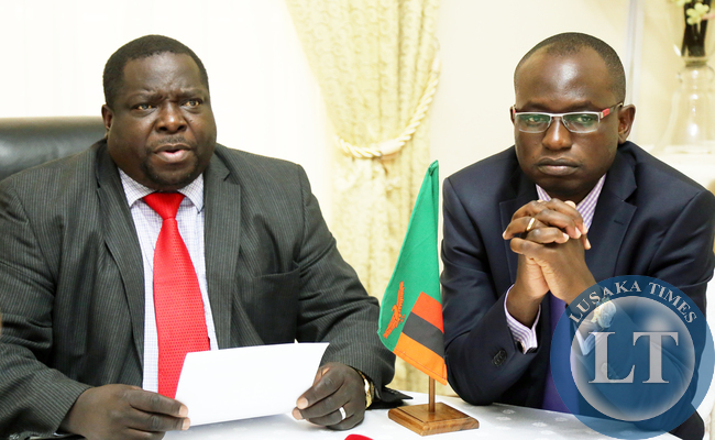 Chishimba Kambwili with Amos Chanda at Statehouse Press Briefing