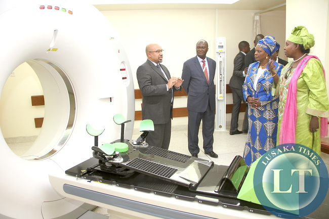 First Lady Esther Lungu during tour of Aga Khan University Hospital in Nairobi, Kenya on July 20,2015 -Picture by THOMAS NSAMA