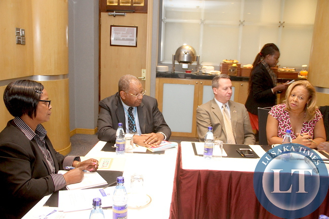 First Lady Esther Lungu (l) during a meeting with American Cancer Society Chief Medical and scientific officer and Executive Vice-president, Research Dr Otis Brawley (second from left), Global Relay for Life Managing Director Bob Chapman and American Cancer Society Global Partnerships and Planning Vice president Ann McMikel (r)  at InterContinental Hotel in Nairobi Kenya  on July 19,2015 -Picture by THOMAS NSAMA