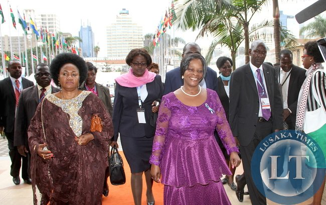 First Lady Esther Lungu  arrives   at Kenya International Convention Centre for the main Plenary Session of the 9th Stop  Cervical , Breasts and  Prostrate cancer in Africa Conference in Nairobi on July 21,2015 -Picture by THOMAS NSAMA