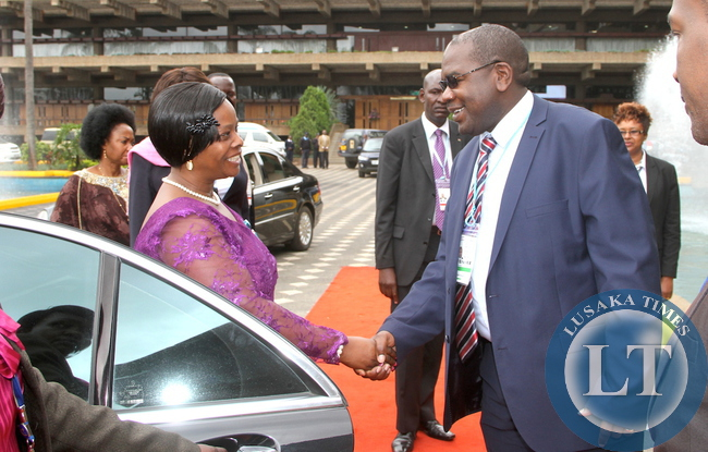 First Lady Esther Lungu  welcomed by Deputy minister of Health Dr Chitalu Chilufya on arrival  at Kenya International Convention Centre for the main Plenary Session of the 9th Stop  Cervical , Breasts and  Prostrate cancer in Africa Conference in Nairobi on July 21,2015 -Picture by THOMAS NSAMA