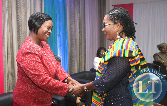 First Lady Esther Lungu with Ghana First Lady Lordina Maha, whose also the OAFLA chairperson during a welcome Cocktail hosted by James  Macharia, Cabinet Secretary for Health in honour of  Visiting First Ladies attending the 9th Stop Cervical, Breast and Prostrate Cancer in Africa Conference. This was at InterContinental  Hotel in Nairobi on July 19,2015 -Picture by THOMAS NSAMA