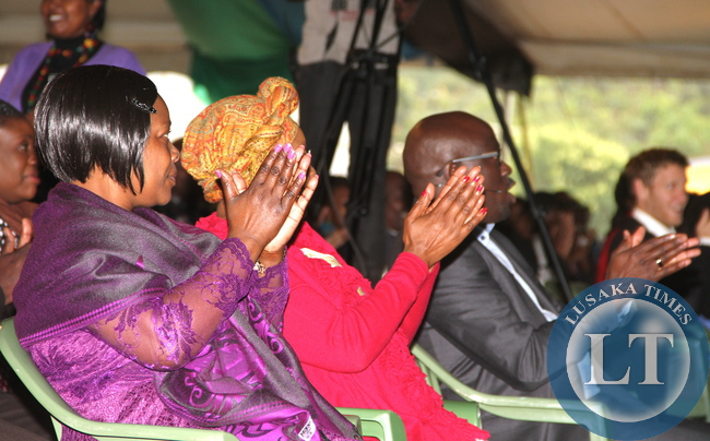 First Lady Esther Lungu cheers during a church Service at Nairobi Chapel  on July 19,2015 -Picture by THOMAS NSAMA