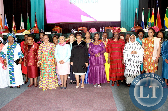 First Lady Esther Lungu  with other First Ladies at the  Kenya International Convention Centre on arrival for the main Plenary Session of the 9th Stop  Cervical , Breasts and  Prostrate cancer in Africa Conference in Nairobi on July 21,2015 -Picture by THOMAS NSAMA