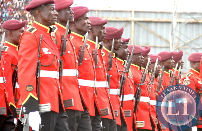 Malawi Defence Force personnel during Malawi's 51st Independence Celebrations at Kamuzu Stadium in Blantyre on July 6,2015 -Picture by THOMAS NSAMA
