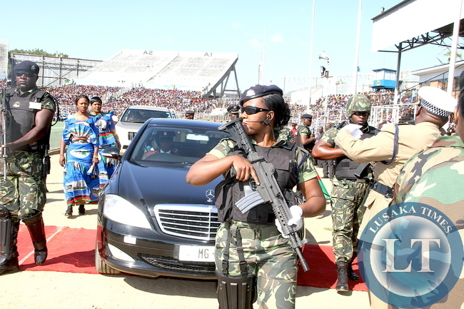 Malawi Police escorting Malawi's Vice-President Saulos Klaus Chilima's motorcade during Malawi's 51st Independence Celebrations at Kamuzu Stadium in Blantyre on July 6,2015 -Picture by THOMAS NSAMA