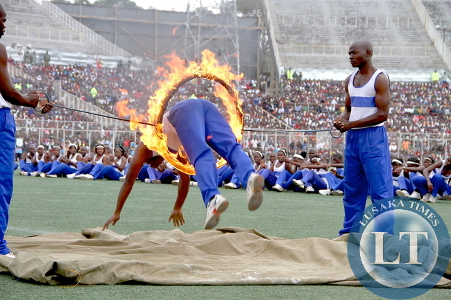 Malawi Police displays  their acrobatic skills during th 51st Independence Celebrations at Kamuzu Stadium in Blantyre on July 6,2015 -Picture by THOMAS NSAMA