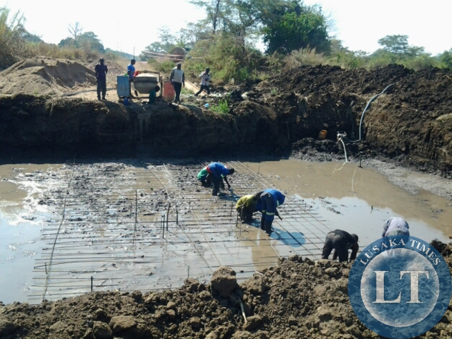A BRIDGE under construction by Jonda along Masumba-Msoro road.This was during a tour of Malambo Member of Parliament Jacob Shuma on monday  in Mambwe District