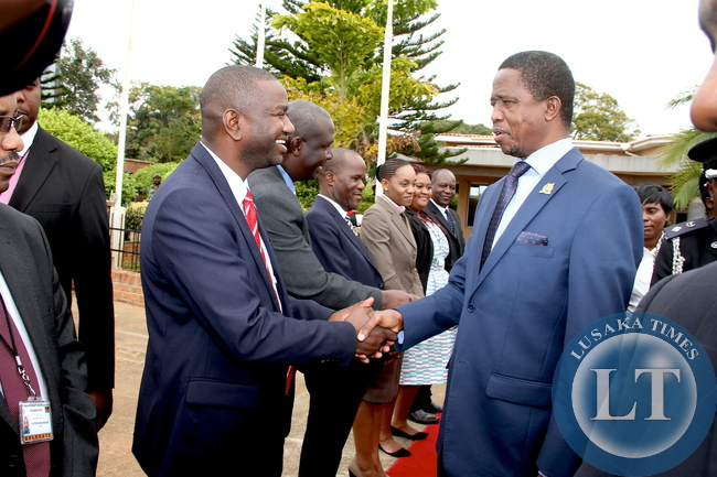 President Edgar Lungu  bids farewell to Zambia's deputy Ambassador to Malawi Henry Ngilazi   at Chileka International Airport in Blantyre where the Head of State graced Malawi's 51st Independence Celebrations. This was shortly  before his departure for Lusaka on July 7,2015 -Picture by THOMAS NSAMA