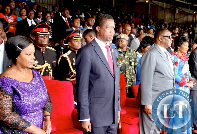 First Lady Esther Lungu, President Edgar Lungu , Malawi's President Peter Mutharika and Malawi First Lady during Malawi's 51st Independence Celebrations at Kamuzu Stadium in Blantyre on July 6,2015 -Picture by THOMAS NSAMA