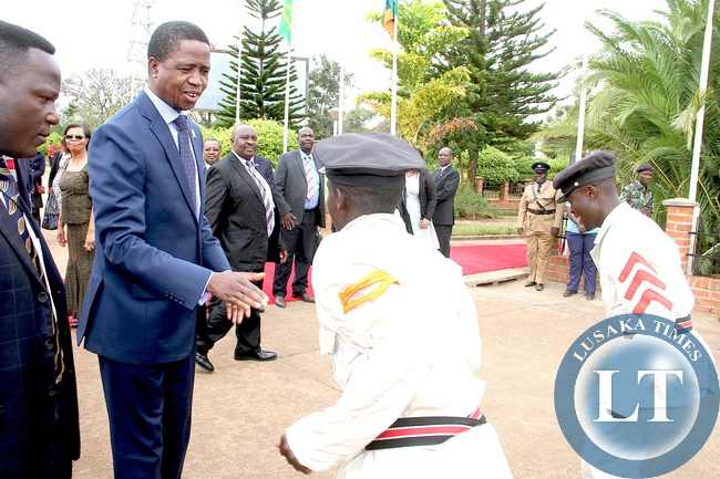 President Edgar Lungu being entertained by Traditional dancers  at Chileka International Airport in Blantyre where he graced Malawi's 51st Independence Celebrations. This was shortly  before his departure for Lusaka on July 7,2015 -Picture by THOMAS NSAMA