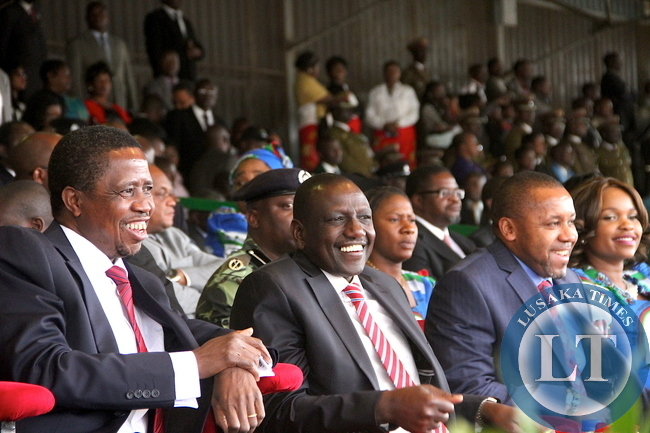 President Lungu and Kenya's deputy President William Ruto during Malawi's 51st Independence Celebrations at Kamuzu Stadium in Blantyre on July 6,2015 -Picture by THOMAS NSAMA