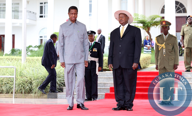 File:President Lungu with President Museveni at Entebbe statehouse