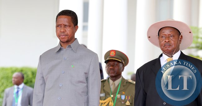 President Museveni with President Lungu at Entebbe Statehouse