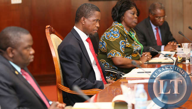 President Edgar Lungu with  Ms Jean Kapata and Emmanuel Chenda  and Mr Harry Kalaba at the Bilateral Talks with President Yoweri Museveni Degation at Serina Hotel in Kampala on Friday - Picture  by Eddie Mwanaleza /statehouse.