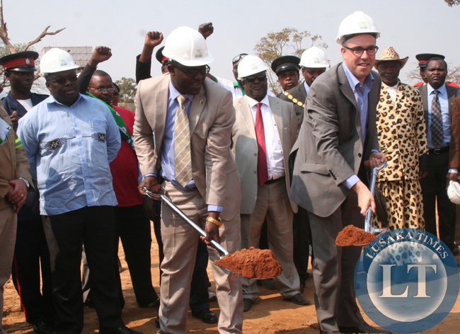 Heriot properties Limited has contracted Thor Development properties to construct Solwezi City shopping Mall  at a total cost of US 25million and the project is expected to be completed in June, 2016. Above, North-Western province minister Dawson Kafwaya (second left) and Heriot properties Director Steven Herrings and chief Mulonga (l) during the ground breaking ceremony on  Wednesday in Solwezi.