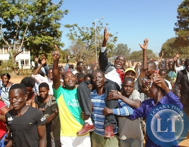 UPND Candidate Bianco Muma lifted shoulder high by his supporters after successfully filing in nominations as aspiring candidate for Bangweulu constituency in Samfya