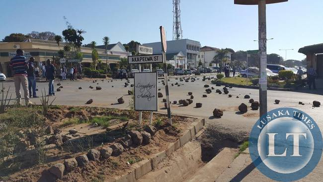 Stones placed by protestors in Livingstone