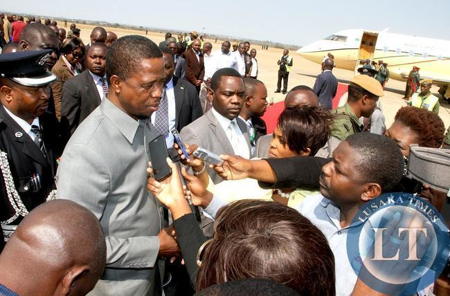 President Lungu during an Interview with Journalists  at Kenneth Kaunda International Airport shortly before departure for Uganda on a two Day State Visit on July 23,2015 -Picture by THOMAS NSAMA