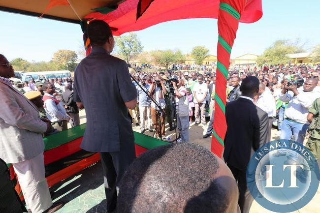 President Lungu address at Siavonga high School during the tour of kariba Zesco plant
