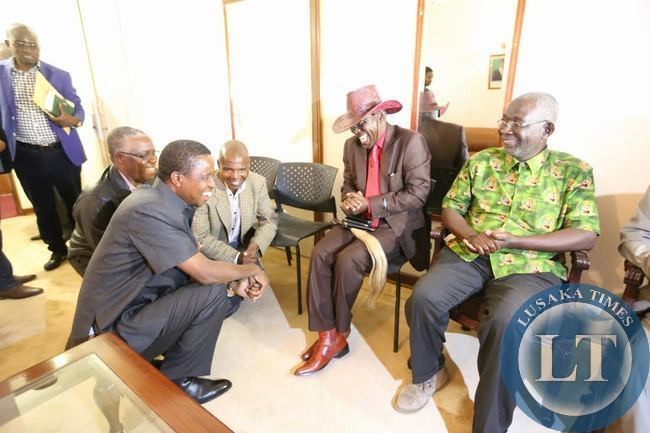 President Lungu greets chief Simamba and Chief Chipepo at Zesco guest house in Siavonga