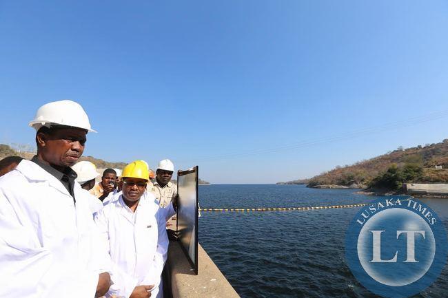 Presisent Lungu tour Kariba dam wall at zesco kariba north bank