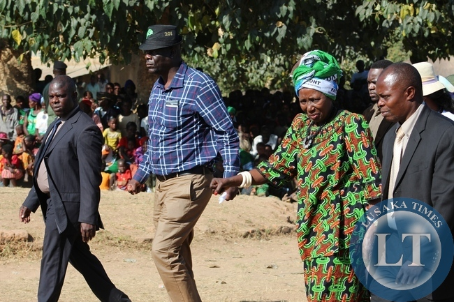 Vice President Inonge Wina (Left) and Minister of Home Affaires Honorable Davies Mwila (Right) walking to the podium for a campaign rally at Chishikishi Primary School in Lumamya ward in Bangweulu Constituency Samfya district