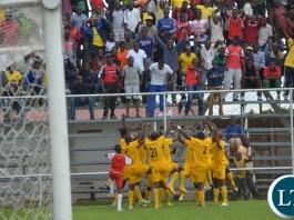 Power Dynamos players celebrating a goal
