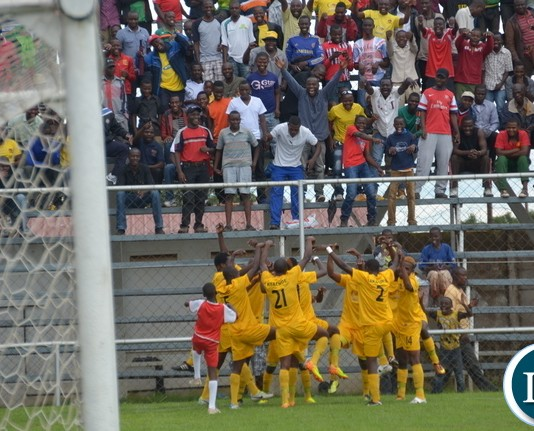 Power Dynamos players celebrating a goal