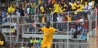 Power Dynamos midfielder Kennedy Mudenda celebrating a goal
