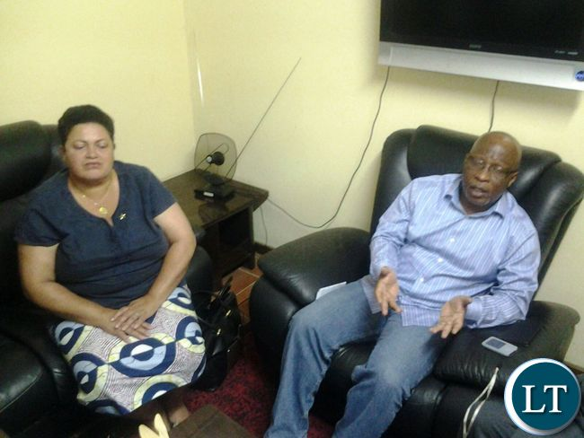 Dr Mumba with Deputy National Secretary Winnie Zaolumis at ECZ offices