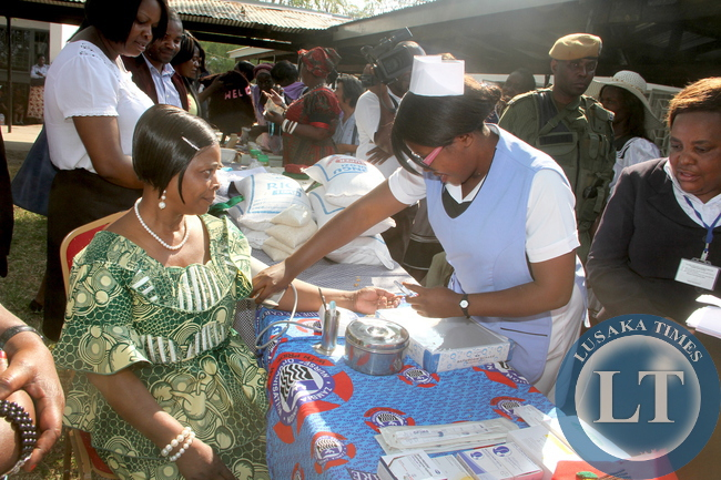 First Lady Esther Lungu takes a BP test  at Lewanika General Hospital where she visited women Clubs  in Mongu District in Western Province on Thursday, August 13,2015. The First Lady is in Western Province on the Outreach Programme for People with Special needs  -Picture by THOMAS NSAMA