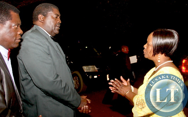 First Lady Esther Lungu bids farewell to wife of Western province deputy Permanent Astrida Chomba the Meet the First Lady fundraising dinner dance to raise funds for the construction of PF permanent office in Mongu on Friday, August 14,2015 -Picture by THOMAS NSAMA
