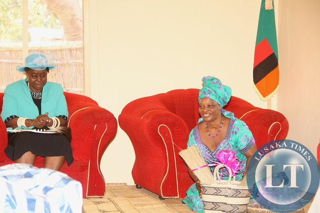 First Lady Esther Lungu when she paid a courtesy call on Litunga La Mboela at Muoyo Palace in Nalolo District on Friday, August 21, 2015. The First Lady is in Western Province on an outreach programme for People with Special needs –Picture by THOMAS NSAMA