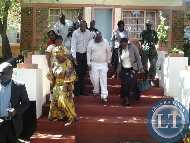 FIRST Lady Esther Lungu after paying a courtesy call on Paramount Chief Mpezeni at his palace in Chipata