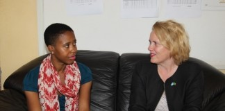 United Nations Resident Coordinator Janet Rogan briefs Tasila Lungu on the UNICEF and government sponsored programmes. Tasila Lungu is on an invitation of touring unicef and government programmes in Northen Province.