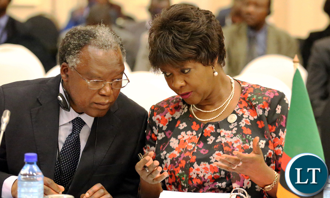 Minister of Commerce, Trade and Industry Margaret Mwanakatwe  with Permanent secretary Siazongo Sikalenge at SADC 35th Council Of Ministers meeting in Botswana on Friday Picture  By EDDIE MWANALEZA.