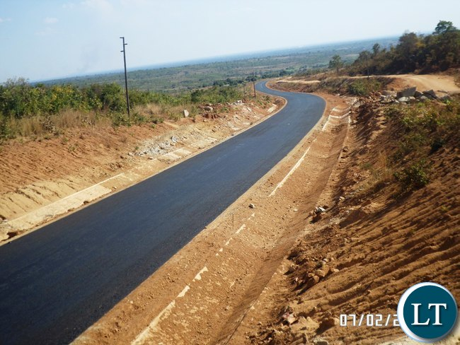 Portion of the completed part of the 171 Km 180 million United Sates Dollars Nakonde / Mbala Road in Muchinga Province