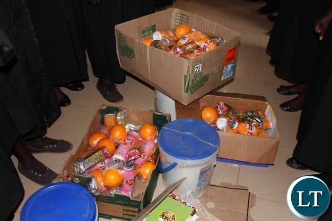 Some food hampers that were donated by the African Methodist Episcopal Church (AMEC) to patients admitted to Mbala General Hospital