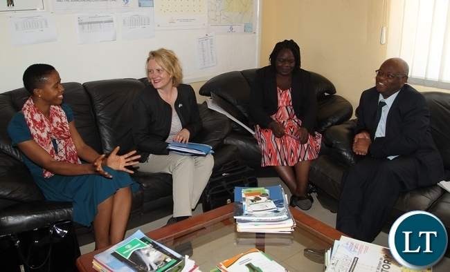 Tasila Lungu gestures whilst Northen Province Permanent Secretary Hlobotha Nkunika(right), United Nations Resident Coordinator Janet Rogan (second right), and Ministry of Youth and Sport Agnes Musunga . The delegation is in Northen province to tour UNICEF and govt youth sponsored programmes
