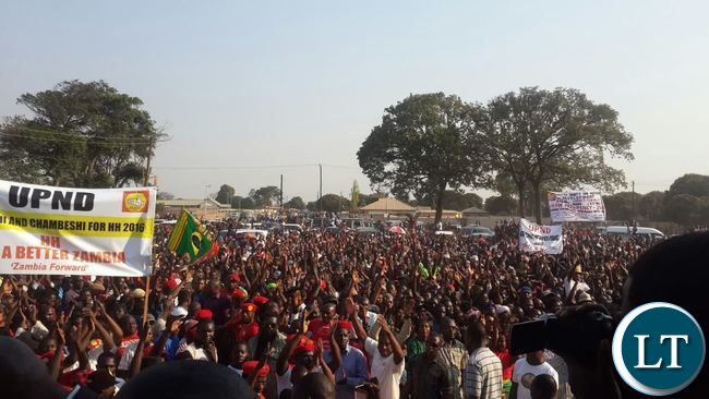 THOUSANDS of UPND supporters attending the rally at Kaunda square ground in Chiwempala Township in Chingola