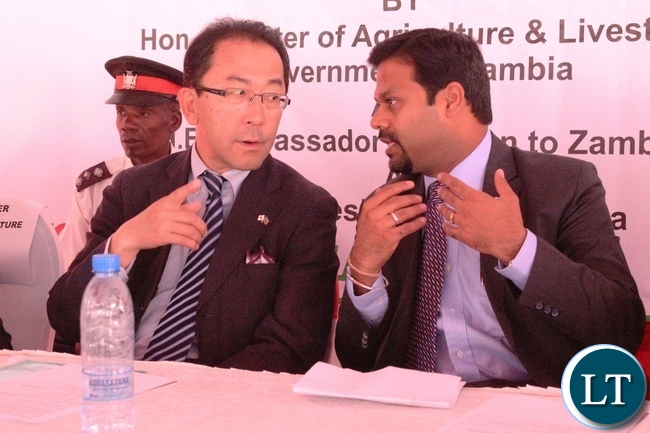 Japanese Ambassador to Zambia Kiyoshi Koinuma with NCCL Varun Mahajan at the inauguration ceremony of the shipping of the coffee beans to Japan produced by Olam Limited today. The event was also attended by Agriculture Minister Given Lubinda