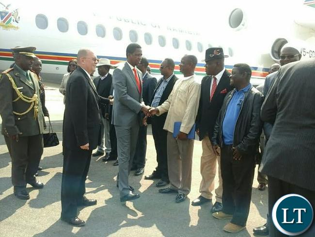 President Edgar Lungu been welcomed by the Mayor of Erongo Region in Walvis bay.