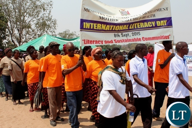 An Adult Literacy Class matching during the celebration of International Literacy Day in Mongu, Western Province