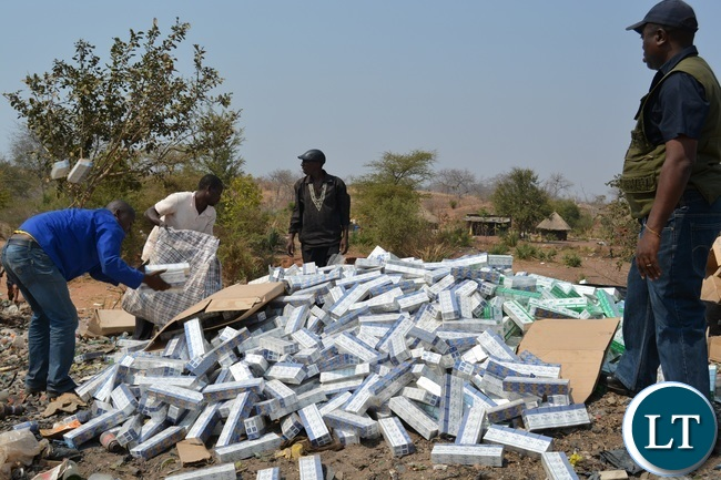 Smuggled Cigarettes being Destroyed