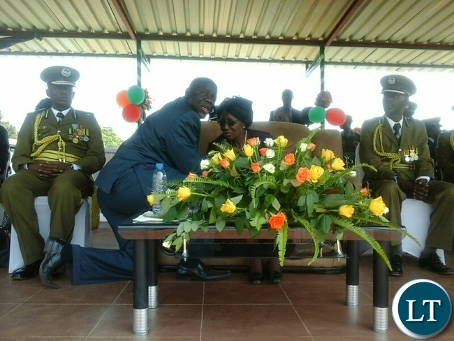 Vice President Inonge Wina at the recruit pass-out and commemoration of the African Correctional and Prisons Day in Kabwe